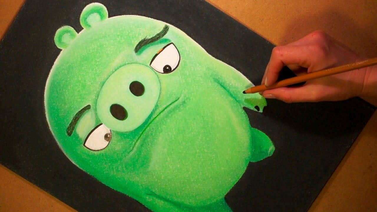 Drawing Angry Birds Movie: Drawing Green Pig Cartoon Character From Angry Birds Movie