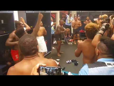 Fiji Bati celebration after defeating Wales [72-6]