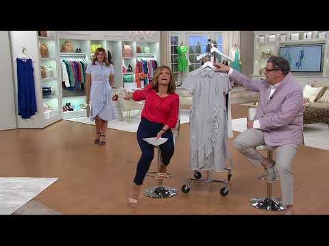 Isaac Mizrahi Live! Seersucker Shirt Dress with Ruffle on QVC