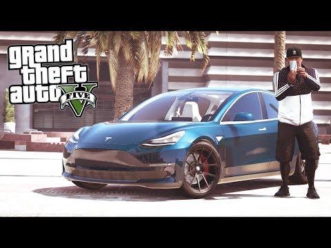 GTA 5 - Real Life Ep7 - Driving a Tesla for UBER!!