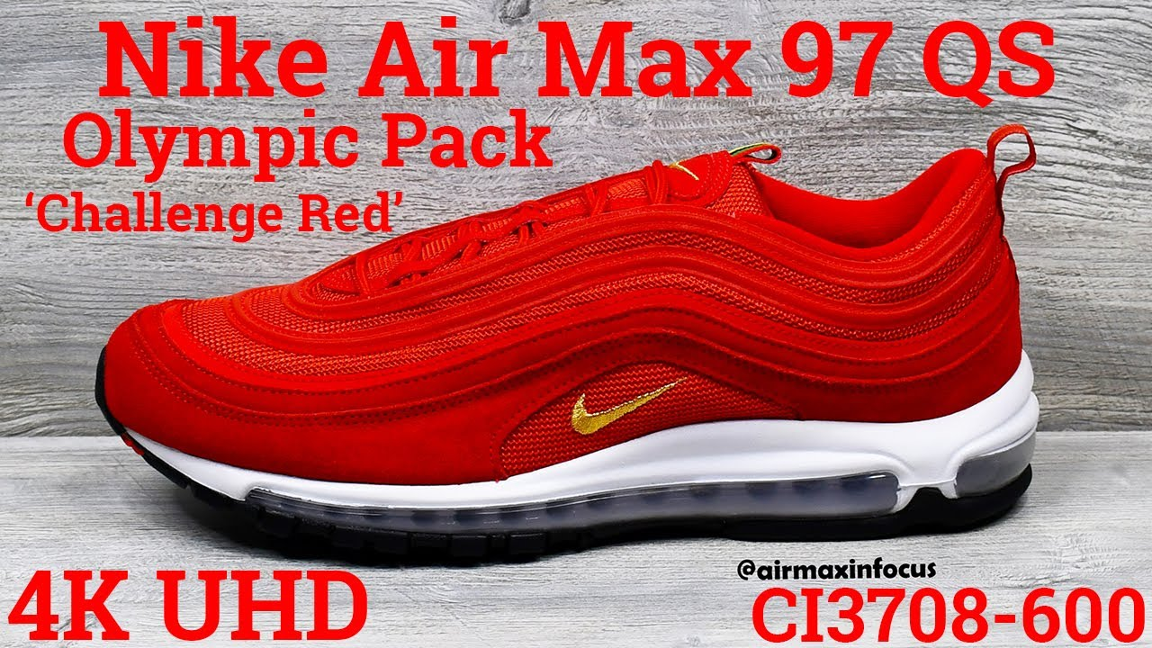 4k Nike Air Max 97 Qs Olympic Pack Red Ci3708 600 2019 An Unboxing And Detailed Look Gold Youtube