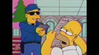 The Simpsons - Homer Is Hiding Behind The Bill of Rights (literally)