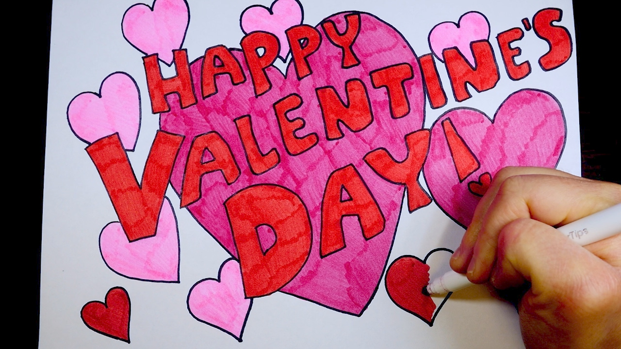 How To Draw Happy Valentine S Day Kids Coloring Video Youtube