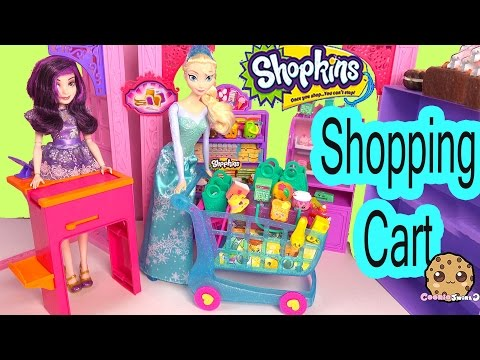 Disney Frozen Queen Elsa Shopping Shopkins Season 3 LARGE CART + 12 Pack With 2 Blind Bag