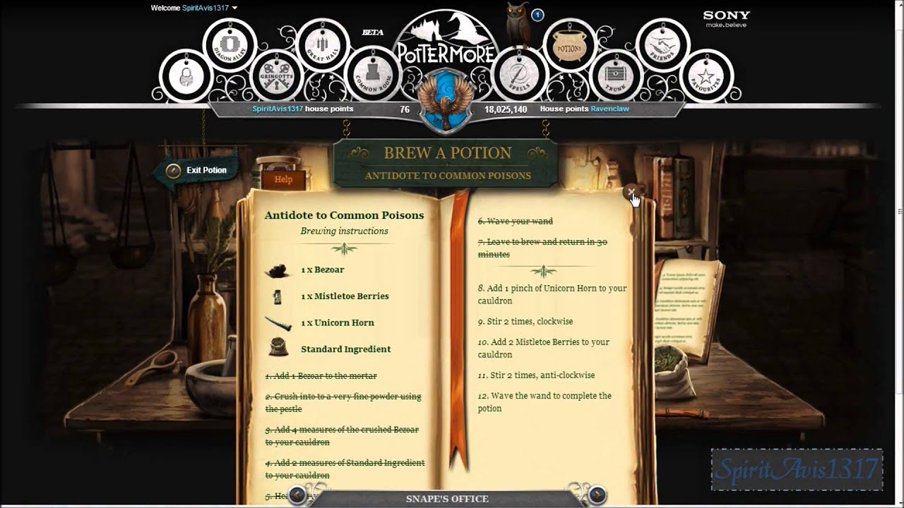 how to make potions on pottermore
