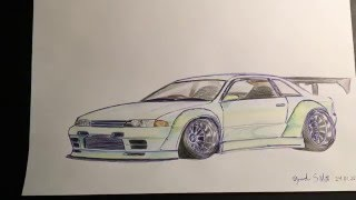 Speed Drawing: Nissan Skyline GT-R r32