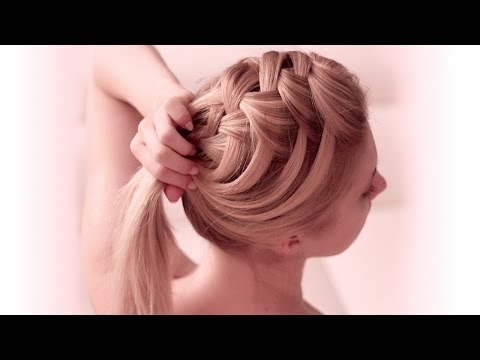 Criss cross waterfall braid hairstyle for everyday: Medium/long hair tutorial