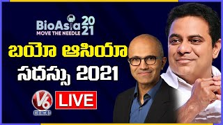Minister KTR Live | Bio Asia 2021 - Day 2 | Microsoft CEO Satya Nadella | V6 News