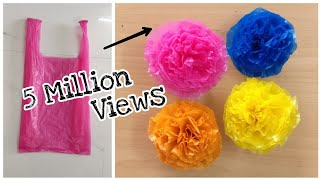 Flowers Making With Plastic Carry Bags   DIY   Carry Bags Re Use Ideas   Best Out Of Waste