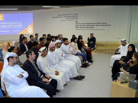 Alia Al Mazrouei and Khalid Al Fahim at Dubai Startup Hub's Youth Business Voice event