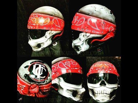 Skull With Bandana Motorcycle Helmet