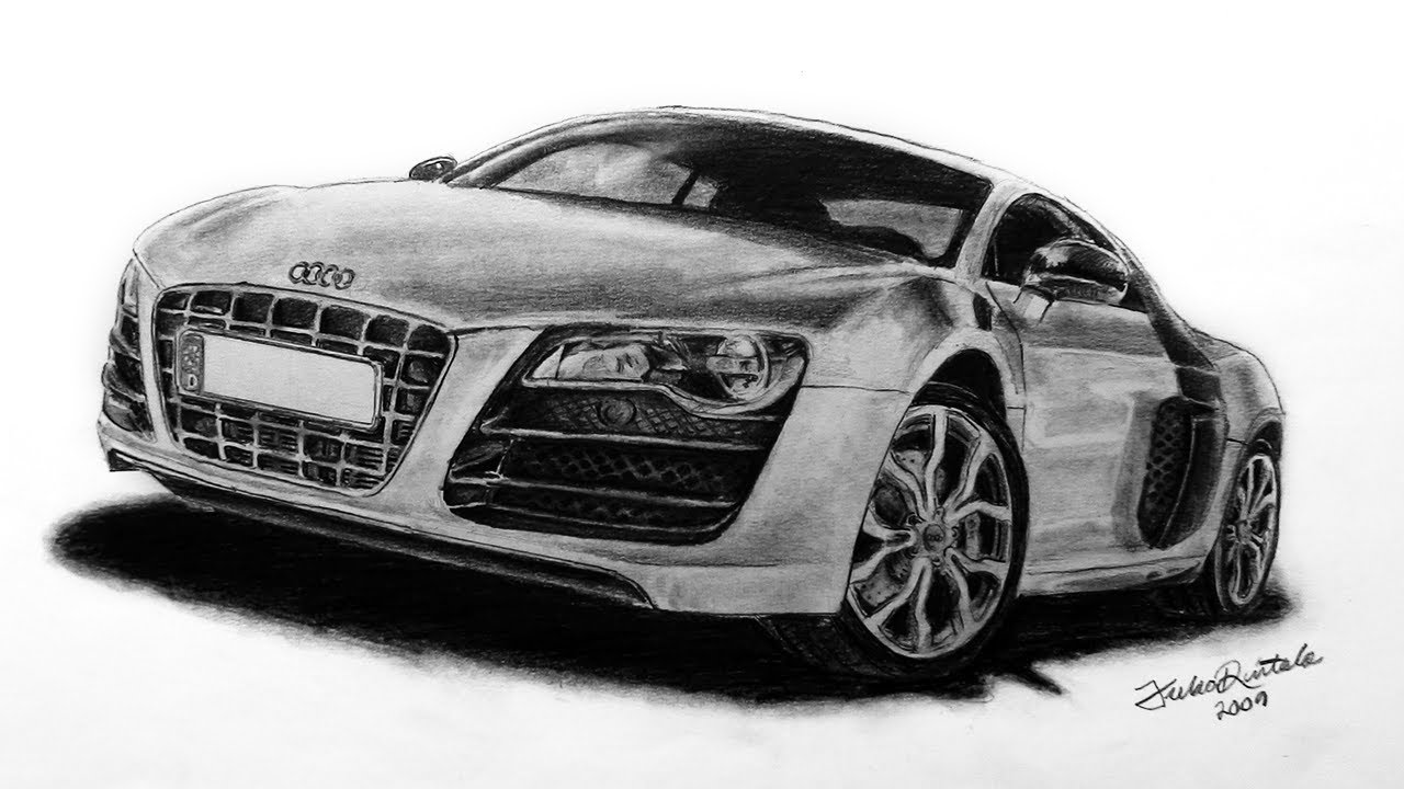 Audi R Speed Drawing With Pencil Juho YouTube - Audi car drawing
