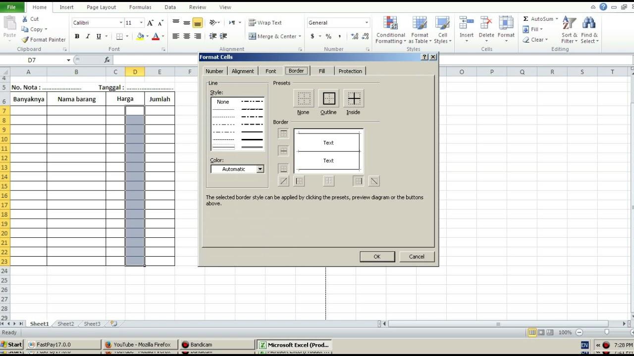 Cara Membuat Nota Dengan Excel