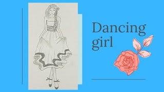 A Girl Dancing With A Beautiful Dress | Pencil Art | Amrin's Dhuniya🦋🌎✨