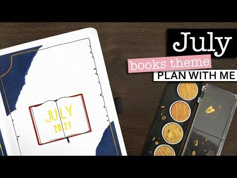 JULY BULLET JOURNAL SETUP 💜 Monthly bullet journal plan with me 2021   July books themed bujo setup