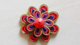 Paper Quilling :How to make Beautiful 3d Quilling leaf green/red/purple Flower