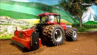 RC TRACTOR at dusty field work - farm toy action