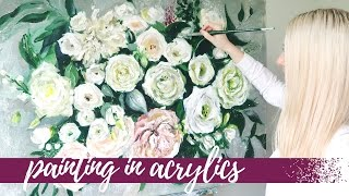 PAINTING IN ACRYLICS Floral Speed Painting | Katie Jobling Art