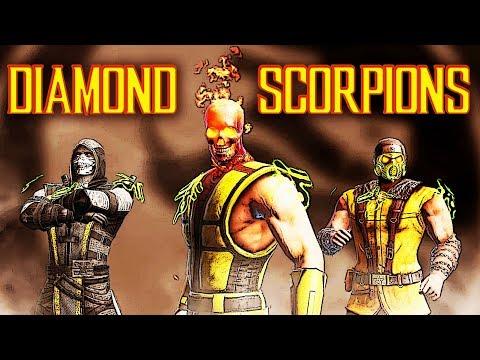 MK Mobile INSANE Diamond Scorpions Team. Epic Battles With Injured Finger!
