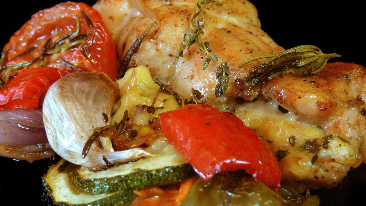 Pollo asado con verduras youtube - Salsa para verduras al horno ...