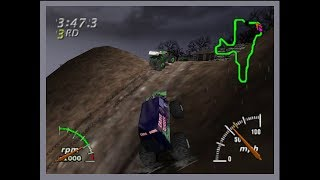 N64 - Monster Truck Madness 64 - Grave Digger Wastelands Race (Fail/Funny)