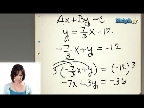 Finding The Equation Of A Line In Standard Form