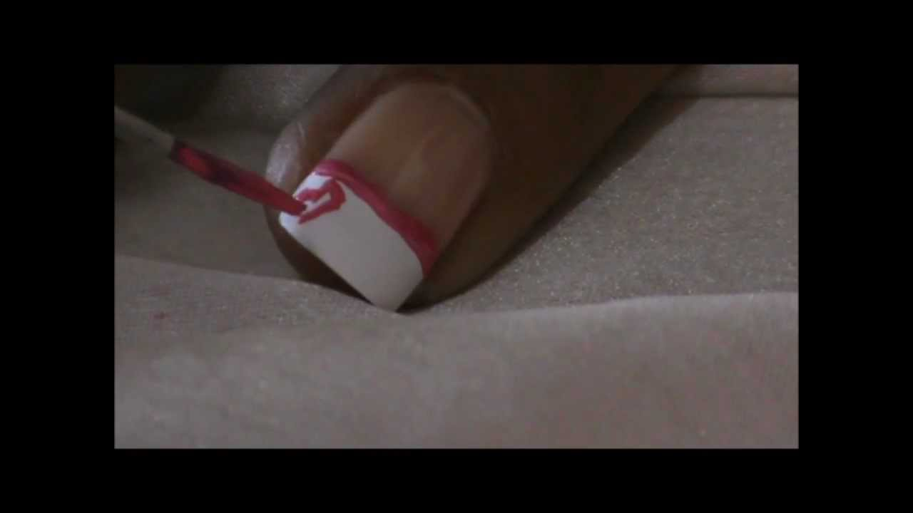 Cute * PINK HEART * French Tip Designs - YouTube