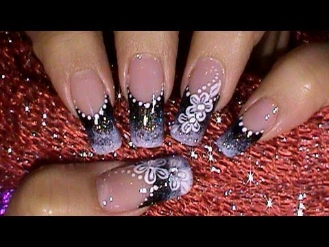 Black & White Ombre Gradient Nail Art Design Tutorial Video thumbnail