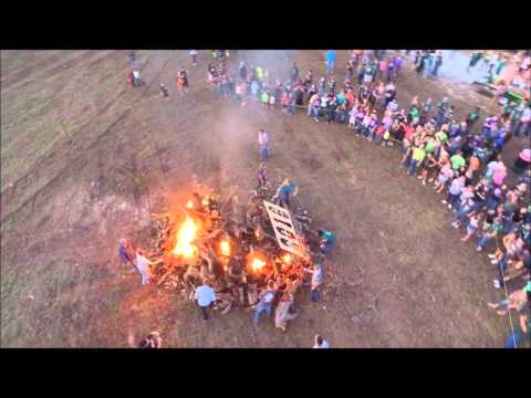 Drone fly over of Normangee Bonfire
