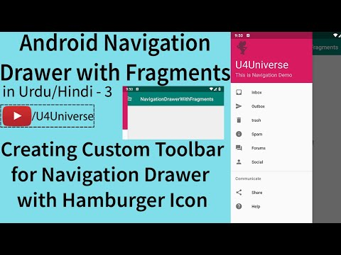 Navigation Drawer With Fragments-3 | Creating Toolbar For Navigation Drawer With Hamburger Icon