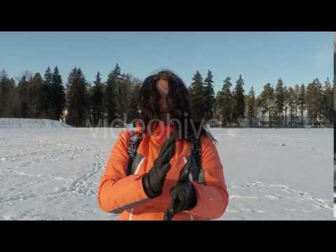 Woman Portrait on Winter Landscape