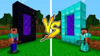 MINECRAFT - NOOB VS PRO: DIAMOND PORTAL BATTLE in Minecraft
