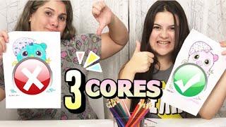 COLORINDO COM 3 CORES - LÁPIS DE COR 72 CORES