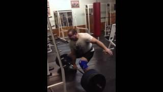 Александр Курак, тяга одной рукой - 230 кг (после основной тренировки в становой тяге).