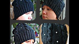 осенняя женская шапка, вязание спицами - Autumn women's hat, knitting