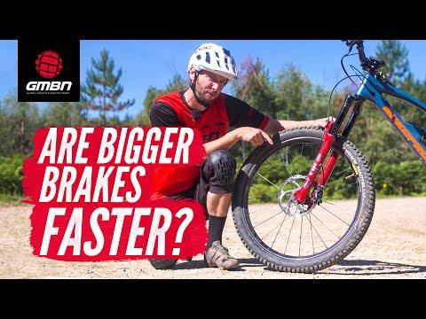 How Much Faster Are Bigger Mountain Bike Brakes? | Bigger Rotors Vs 4 Piston Calipers