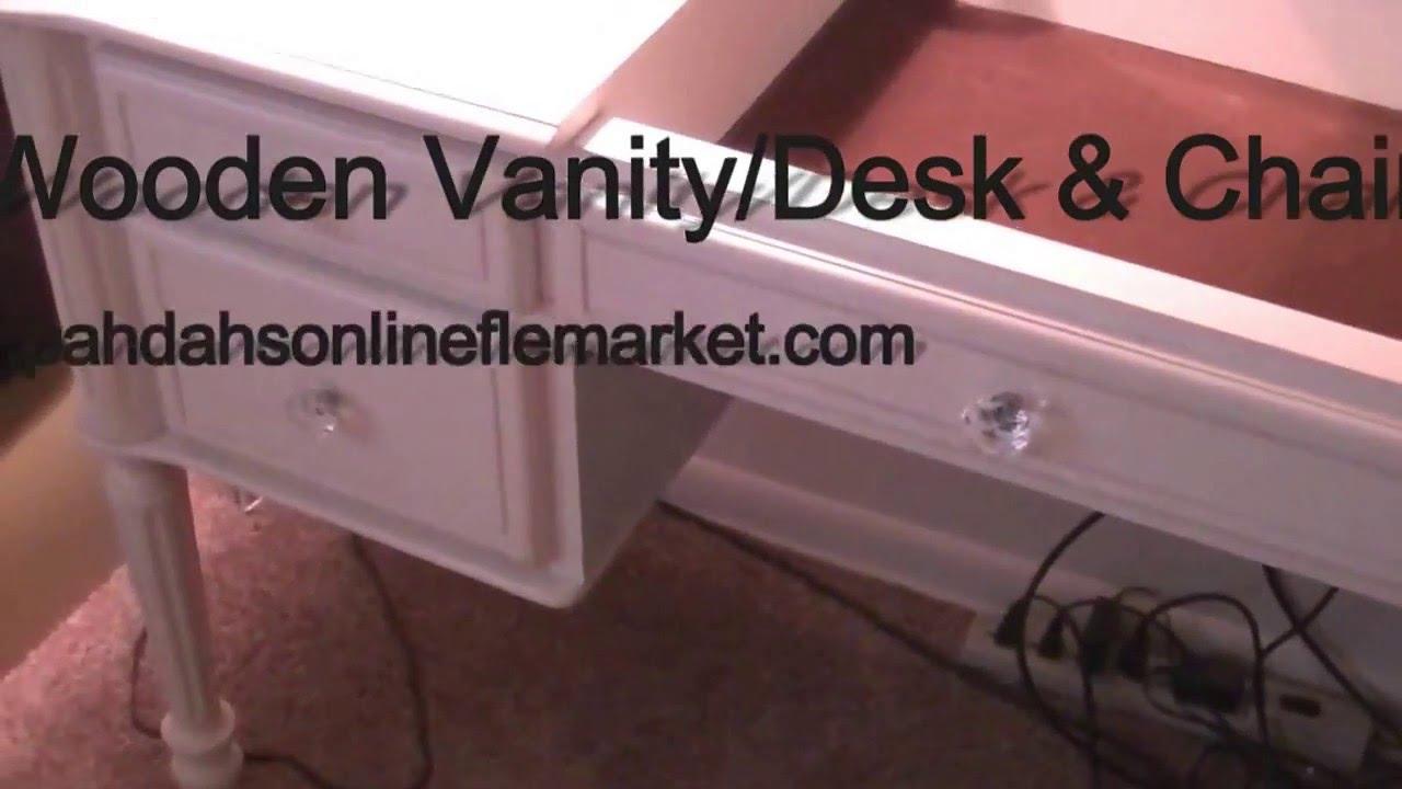 Wooden Vanity Desk Chair For At Pahdah S Online Flea Market