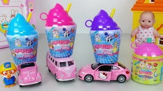 Baby doll and Smooshy Mushy slushie surprise squishy and Hello Kitty car pororo toys play 펫스퀴시- 토이몽
