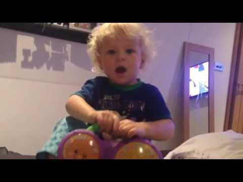 Jansen 22 Months Doing Alphabet With Fisher Price Bath Bongos