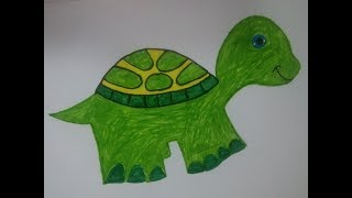 How to draw a Tortoise|Easy drawing for Kids|Colors drawing painting