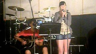 Kaitlin performing at open mic night