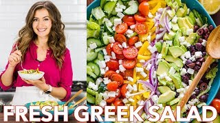 Fresh  & Healthy Greek Salad Recipe + Dressing -  Natasha