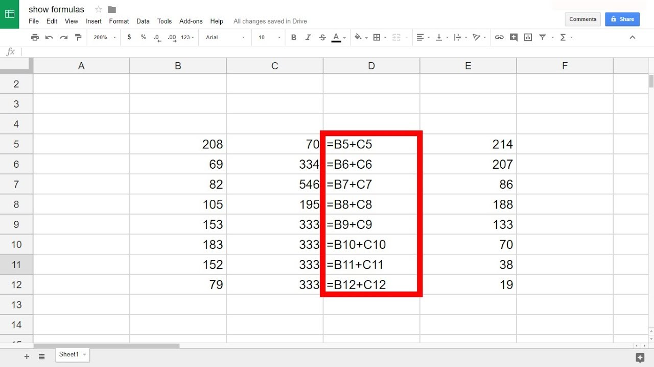 Google Sheets   Show Formulas