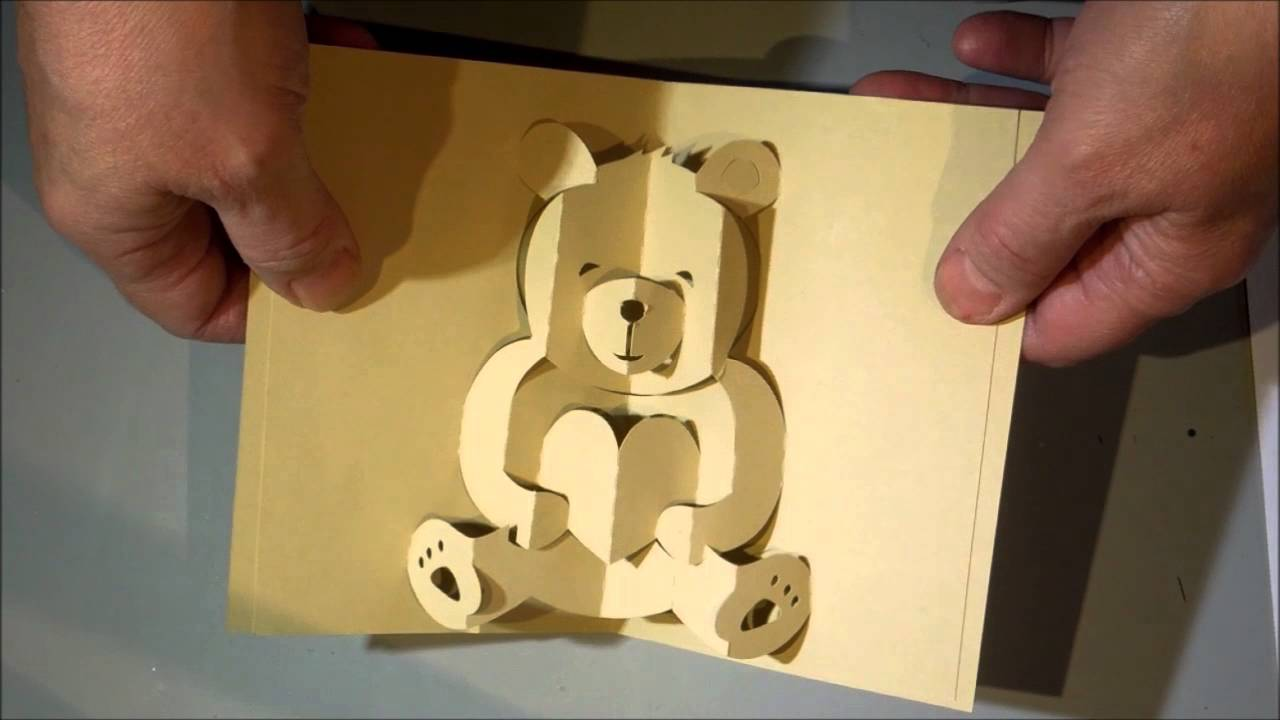 Kirigami Bear Pop Up Card Youtube