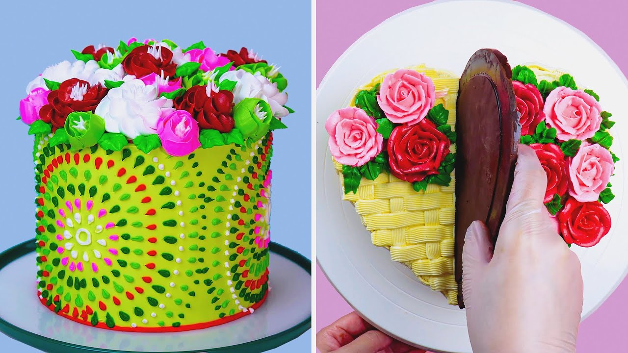 Perfect & Easy Flower Cake Decorating Ideas   How to Make Colorful Cake Decorating for Party