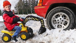 Funny Kid Big Truck Stuck in the snow Ride On Power Wheel Excavator