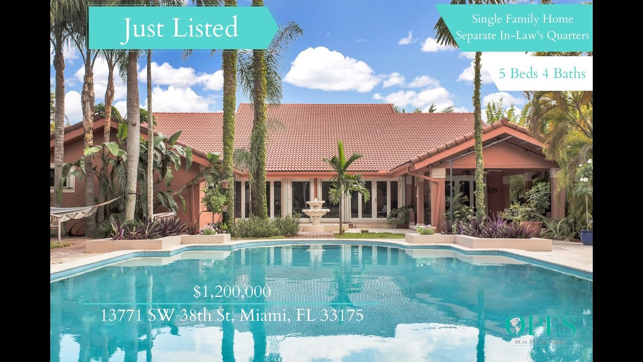 Home For Sale With Separate In-Law's Quarters - 13771 SW 38th Street Miami, FL 33175