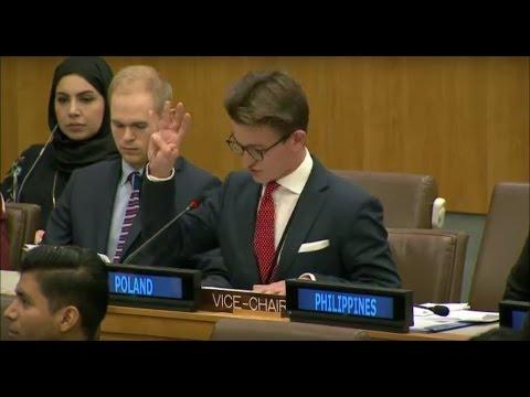 Michał Skręta and Mikołaj Solik, Youth Delegates of Poland, address the United Nations