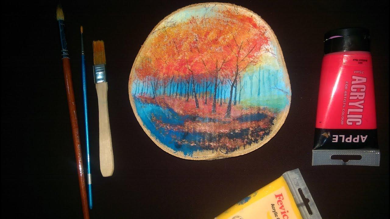 رسم على الخشب بألوان الأكريليك رسم أشجار Wood Slice Art Youtube