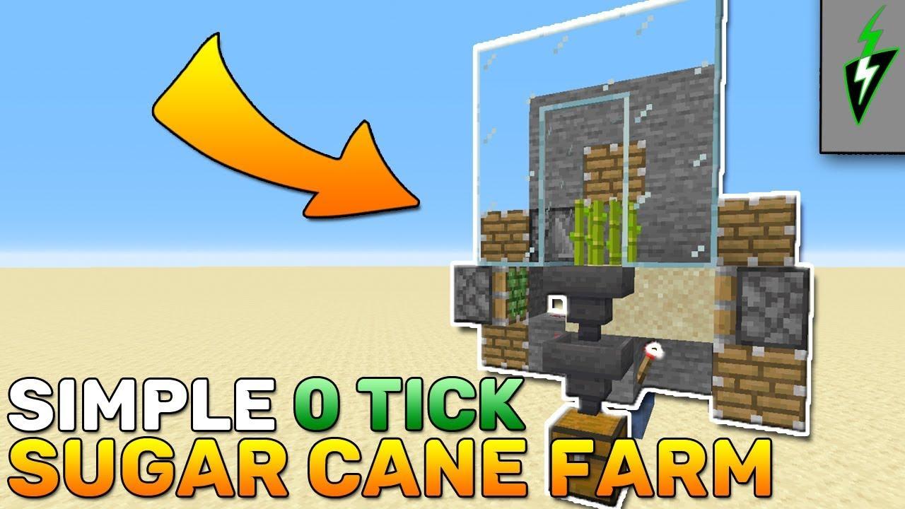 How To Build 0 Tick Sugar Cane Farm Minecraft 1 14 4 Minecraft Tutorial Youtube